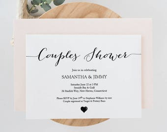 Couples Shower Invite - DIY Printable Invitation template - Calligraphy style script - Rustic Heart - Editable PDF - 5x7 inches - #GD2501