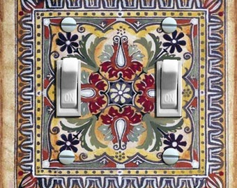 ITALIAN Vintage Tile Double Switch Plate ***FREE SHIPPING***