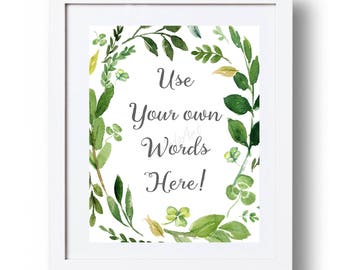Custom quote Printable Personalized poem Greenery sign Mothers day gift Green watercolor wreath Printable gift Custom Poem Custom Irish sign