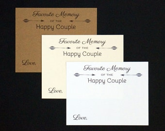 Favorite Memory of the Happy Couple Cards - Engagement Party - Paper Anniversary - First Celebration - Arrow - White, Cream or Kraft Notes