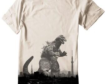 Godzilla T Shirt Japan japanese tokyo skyline skytree tower mt fuji Unisex Tee Shirt Nippon Hand Screenprinted