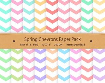 Digital Paper Spring Chevrons Digital Scrapbooking Chevron Digital Paper Pack Pastel Scrapbook Cardmaking Commercial Use Blue Green Pink