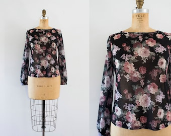 1990s Forgotten Chateau sheer floral tee / 90s victorian rose