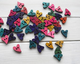 Wooden Buttons Funky Heart - 8 pcs