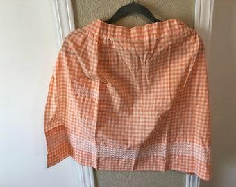 Vintage Orange and White Checked Half Apron
