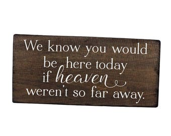 FREE SHIPPING We know you would be here today sign if heaven wasn't so far away sign memory sign wedding remembrance sign
