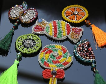 3-11cm wide 2pcs  green/orange candy apple watermelon beads Rhinestones tassel dress clothes brooch appliques patches M52S30 free ship