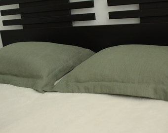 Two green oxford pillowcases , 100% pure off white linen euro shams , pillow cover , softened flax linen , in handmade