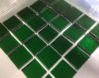 DARK CHRISTMAS GREEN Transparent 100 3/8 Stained Glass Mosaic Tile A33