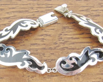 Sterling Silver Bracelet Vintage Black Enamel Mexican Mexico jewelry TR-78 925 7.25 inches 18 grams