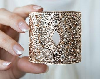 Rose gold bangle, rose gold jewelry, Statement Cuff, greek cuff, dots jewelry, hammered rose gold cuff bracelet, wide rose gold cuff