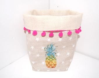 Tidy basket / bag decoration, Burlap, and beige fabric, pineapple
