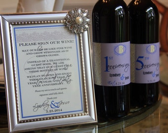 Customizable  Wine Bottle Guest Book, Sign with Frame, Four Anniversary Wine Labels, and Marker