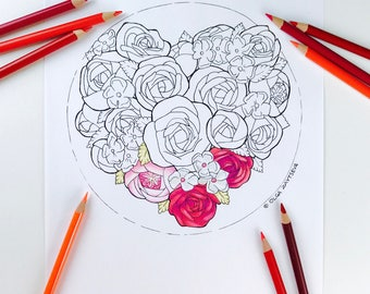 Adult coloring page Valentines Day | Heart Flower Coloring Pages for Adults | Digital Coloring Hand Drawn Flowers Line Art by Olga Zaytseva
