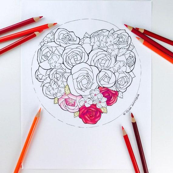 Erwachsenen Malvorlagen Valentinstag Herz Blume Malvorlagen