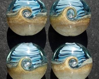Lampwork Small Focals Lentils (4) Encased Ocean Wave Navy