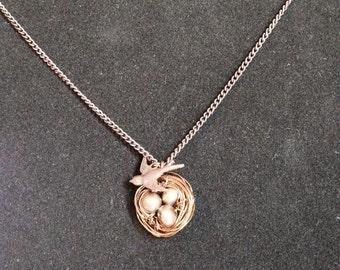 Wire Bird's Nest Charm Necklace