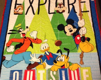 Explore the Outdoors with mickey and friends baby quilt