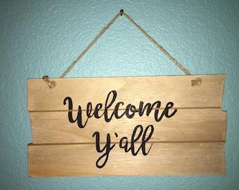 Welcome Y'all Wooden Door Hanger/Wall hanging