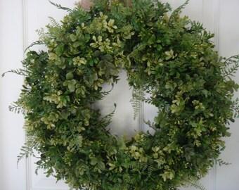 Boxwood Wreath, Spring Wreath, Mothers Day Wreath, Boxwood Decoration, Year  Round Wreath