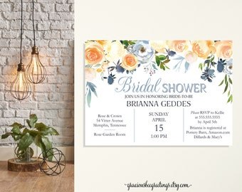 Bridal Shower Invitation, Brides Lunch, Wedding Invitation, Vow Renewal, Baby Shower, Dusty Blue, Garden Party Invitation, Printable