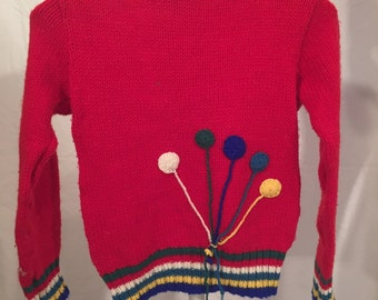 Vintage Red Balloon Sweater with 5 balloons Green White Blue Teal Yellow Size 6 Small S