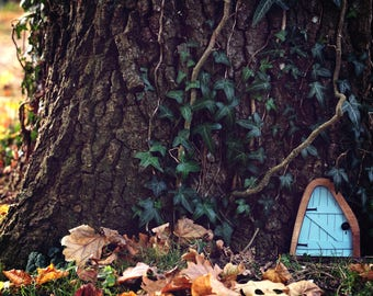 Fairy Door 'Iris' in Blue - Blue Fairy door - Fairy door for tree - Miniature door - Fairy garden - Fairytale door - Tooth Fairy door