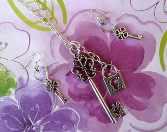 36 inch Keys & Lock Necklace, with Coordinating Earrings