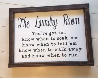 Laundry Room Sign, Laundry Room Decor, Fixer Upper Wall Decor, Funny Laundry Sign, Know When To Fold 'Em Sign, Cottage Chic, Wood Sign