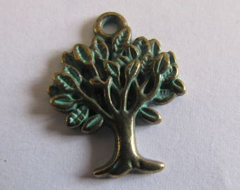 2 bronze charms with a little green tree 21mmx18mm