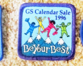 Set of Three (3) Vintage Girl Scout Calendar Sale Patches-1992. 1996, 1997