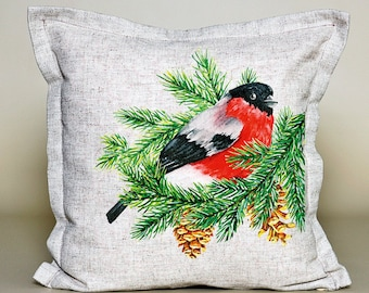 Christmas Holiday Pillow Red Cardinal with tree, Christmas Tree, Christmas pillow, Christmas gift, Christmas cushion, 16''x16'', 100% linen
