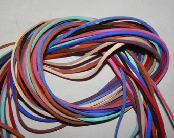 """13 pcs Colored Microfiber Suede Laces (for crafting) 1/8"""" thick x 5 ft long  #4349"""