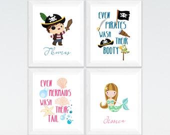 Pirate and mermaid personalized kids bathroom printable art set,  custom kids bathroom wall art,  kids bathroom decor download