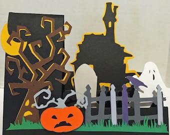 Handmade side step Halloween card