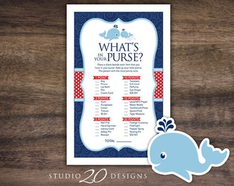 Instant Download Whale What's In Your Purse Game, Navy Blue Red Whale Baby Shower Games, Printable Whale Theme Purse Game 20D