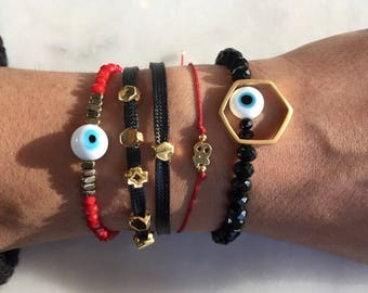 Evil Eye Jewelry, Evil Eye Bracelets, Evil Eye Charm, 2018 Bracelet, Cross Bracelet, Black and Gold Bracelet, Mix and Match Bracelets.