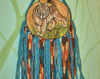 Iberian Lynx hand painted on wood, dreamcatcher.