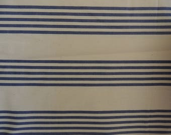 Cotton fabric coupon coated background off-white striped blue 50 cm x 45 cm