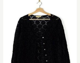 ON SALE Vintage Black Lace Long Sleeve Blouse/Cardigan*