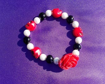 Red, Black, and White Rose and Skulls Bracelet