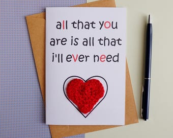 Love card Birthday card|for|her Heart card Birthday card for wife Girlfriend card Romantic cards All that you are is all that i'll ever need
