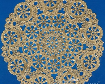 """8"""" Medallion Lace Gold Foil Doilies, 1000/Box, 1 Box/Case"""