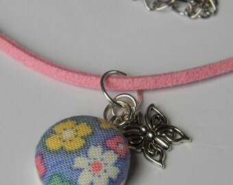 Fabric Button Necklace with Butterfly Charm on Pink Faux Suede