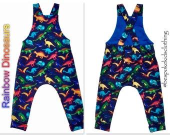 Dinosaur Salopettes, Rainbow Baby, Dinosaur Dungarees, Dinosaur Romper, Toddlers Dungarees, Childrens Dino Overalls, Bib and Brace