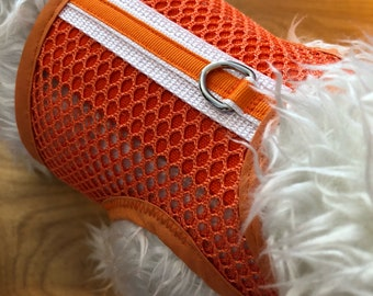 Safety Orange Breathable Mesh Small Dog Harness Made in USA