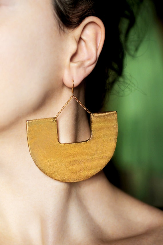 Top Large earrings Gold dangles African jewelry Tribal earrings SP69