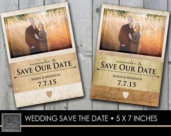 CUSTOMIZED photo WEDDING save the date card 5 x7 - printable DIGITAL file