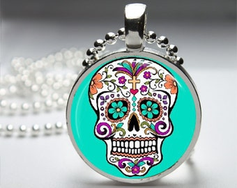 Sugar Skull Round Pendant Necklace with Silver Ball or Snake Chain Necklace or Key Ring