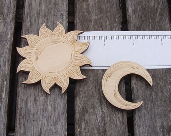 Sun and Moon Magnet set Celestial magnets moon magnet sun magnet Sky Kitchen Art Wood magnet handmade